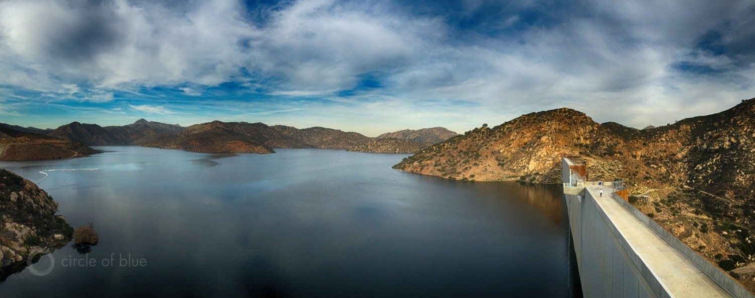 The San Vincent Dam stores water for San Diego, California. Late last year the city opened the $US 1 billion Carlsbad desalination plant, the nation's largest, to increase freshwater supplies. Photo © J. Carl Ganter / Circle of Blue