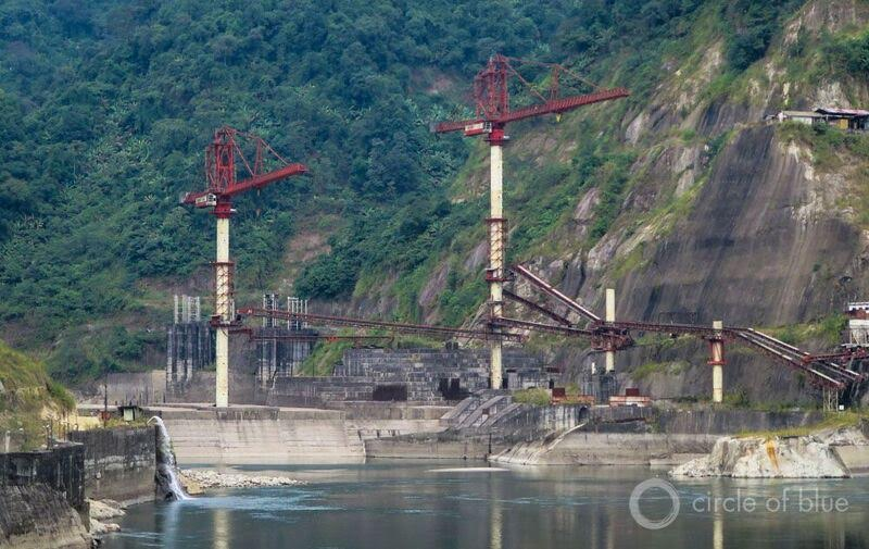 Citizen opposition in 2011 shut down construction of the $US 1.6 billion, 2000-megawatt Lower Subansiri hydropower project in Assam, India. The dam is half finished and no resumption of construction is in sight. Photo © Keith Schneider / Circle of Blue
