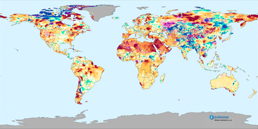 Each month ISciences updates their World Water Watch List highlighting the regions where freshwater levels are expected to rise or fall over the next nine months. Their predictions map for September 2016, shows large deficits in the Middle East with big changes predicted for Russia and Central Asia.