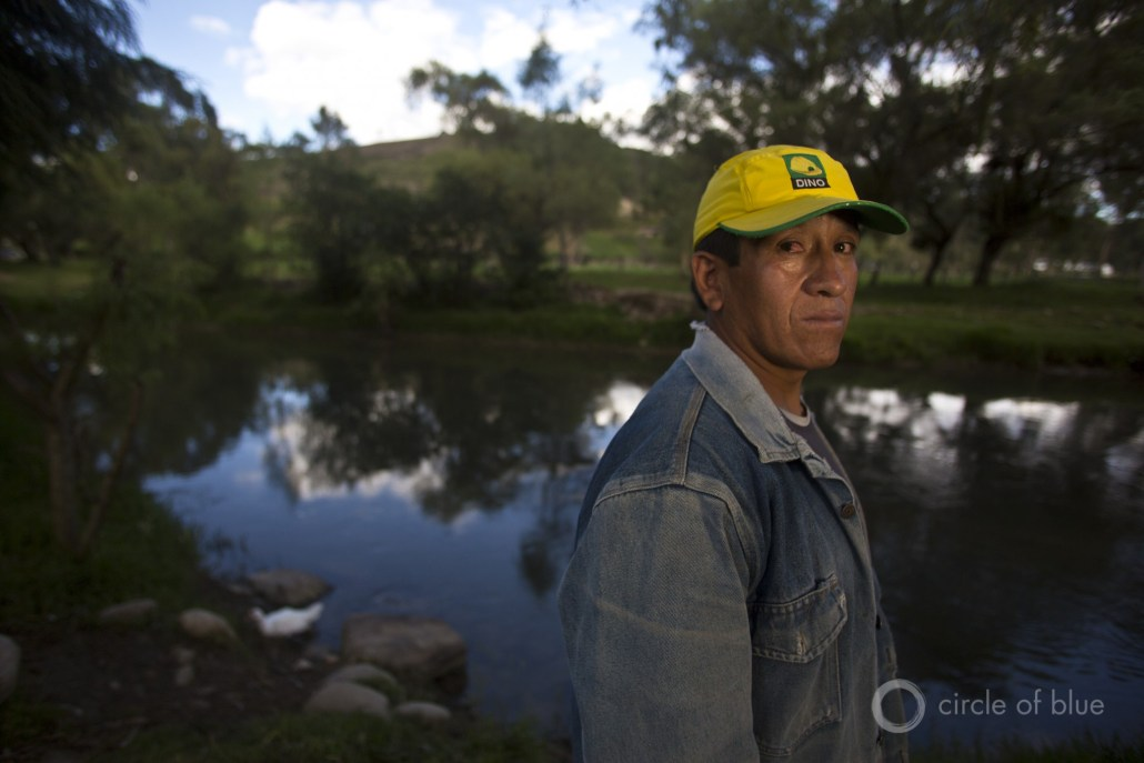 Farmers in Cajamarca fear water contamination from mines upstream from their lands.