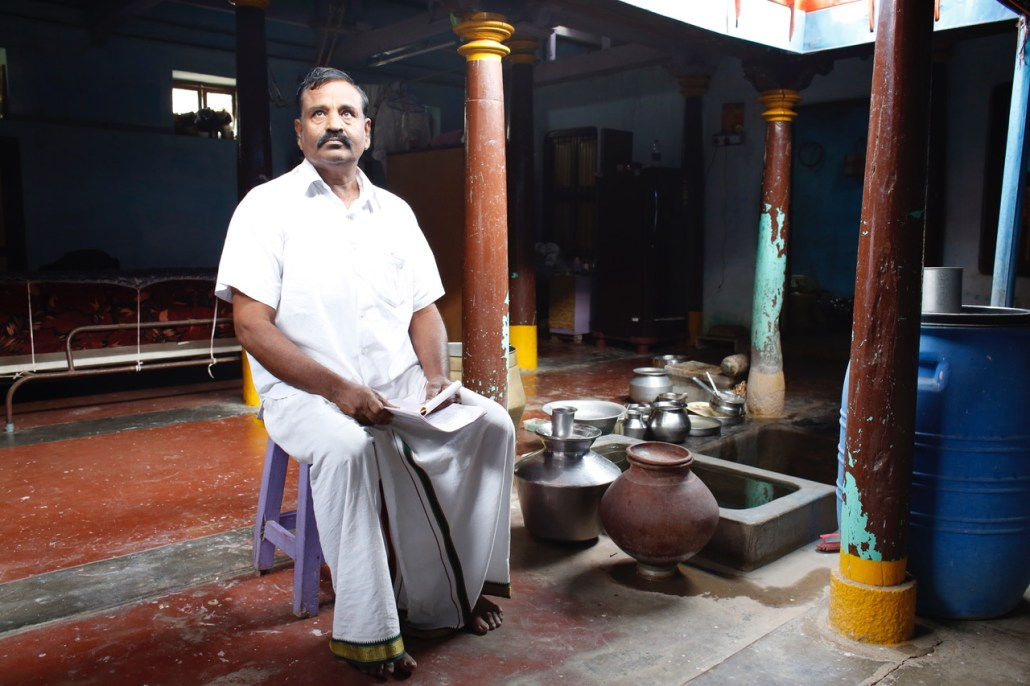 A farmer from Mannargudi, in the Cauvery Delta region of Tamil Nadu, stores scarce water in stainless steel pots and a cistern at his home. The worst drought in 140 years is battering the southeast Bay of Bengal state. Photo/Dhruv Malhotra