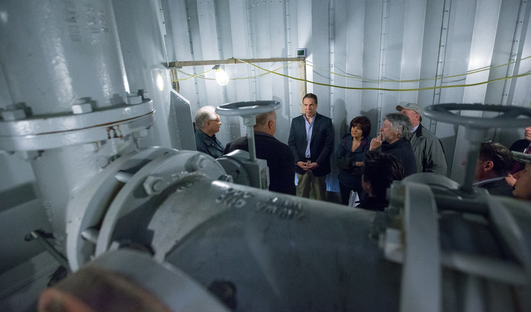 Gov. Andrew Cuomo met with Hoosick Falls officials and other state authorities to tour the Village of Hoosick Falls water treatment plant in this March 2016 photo. The Hoosick Falls water source was contaminated with the chemical PFOA. Photo courtesy of New York Governor's Office