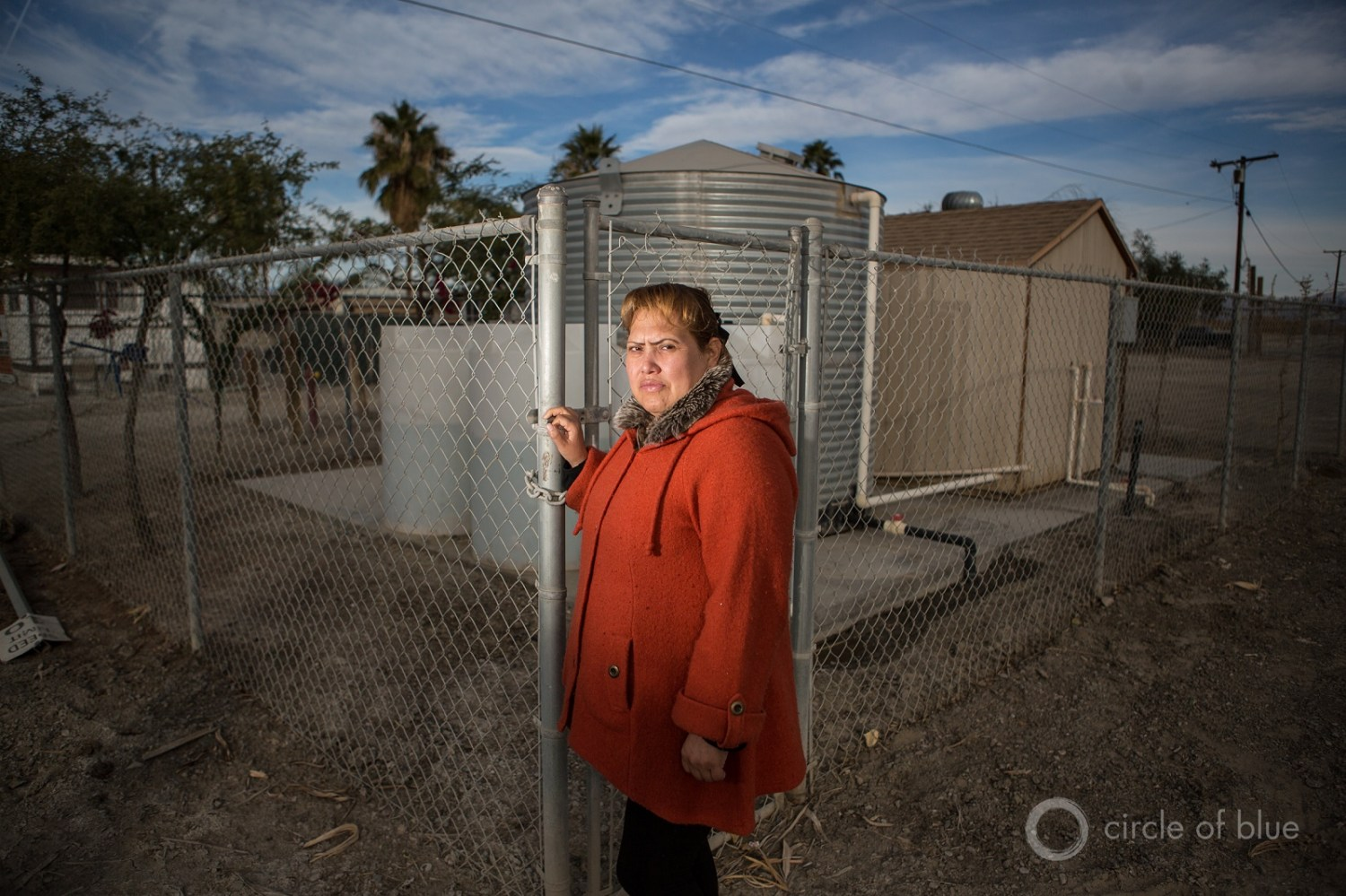 Migrant communities in southern California have to rely on unsafe groundwater supplies or drive to access clean supplies. A water filtration station in the Coachella Valley removes arsenic from groundwater. Photo © J. Carl Ganter / Circle of Blue