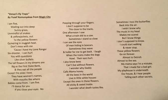 A poem by Yusef Komunyakaa