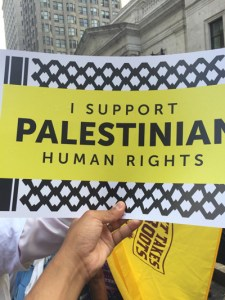 Protester at DNC holding up Palestinian human rights sign