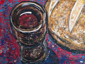 Painting of wine and bread. A picture used to represent Circle of Hope's communion.