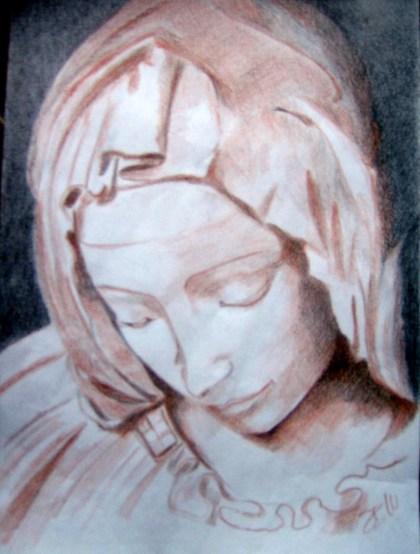 Evelina: testa Pietà di Michelangelo. Maggio 2011