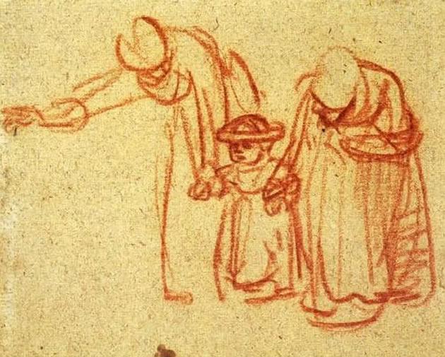 Questo disegno gestuale di Rembrandt è realizzato con un gesso rosso su carta ruvida. Poche righe espressive, ci fanno riconoscere la scena: due donne intente a insegnare a un bambino a camminare.