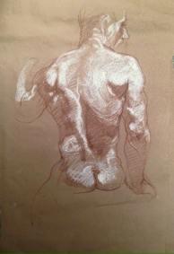 - Tracey Padron - Pencil and chalk on brown paper
