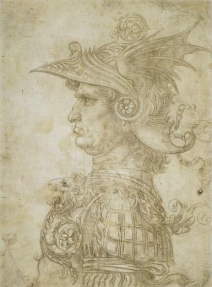 Leonardo da Vinci, Busto di un guerriero di profilo, disegno a punta d'argento. Firenze