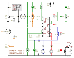 How to build TwoZone Burglar Alarm  circuit diagram