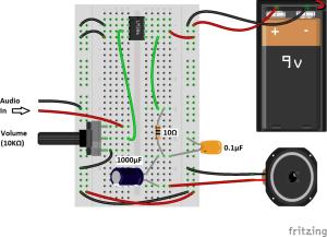 LM386 Minimal Audio amplifier
