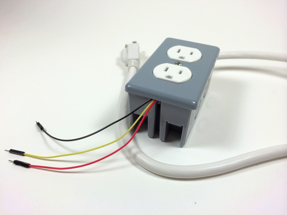 Build an Arduino Controlled Power Outlet - The Completed Electrical Outlet Box Data, 5V and Ground Wires