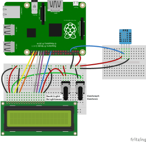 Raspberry Pi DHT11 LCD Output Connection Diagram