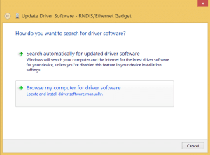 Raspberry Pi Zero Ethernet Gadget - Update Driver Software