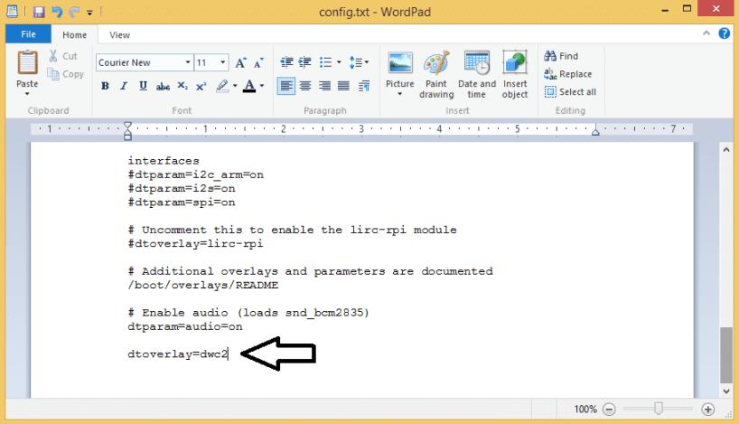 Raspberry Pi Zero Ethernet Gadget - Using Wordpad to Edit the config.txt File