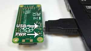 Raspberry Pi Zero Ethernet Gadget - Pi Zero Plugged Into Micro USB Port