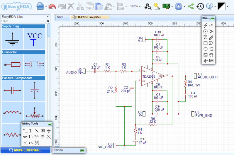 How to How to Design and Build a TDA2050 Audio Amplifier - Circuit Schematic