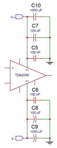 Complete TDA2050 Amplifier Design and Construction - Power Supply Decoupling Capacitors