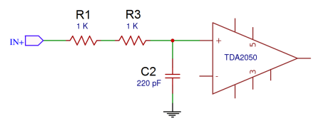 Complete TDA2050 Amplifier Design and Construction - Set the High Frequency Cut Off at the Amplifier's Input