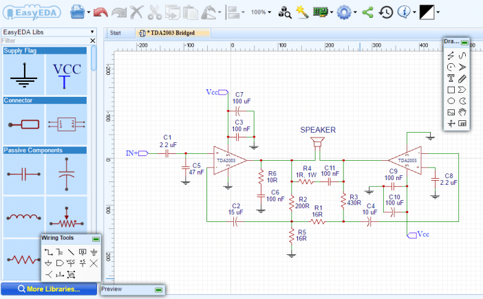 How to Build an Audio Amplifier With the TDA2003 - Bridged Schematic
