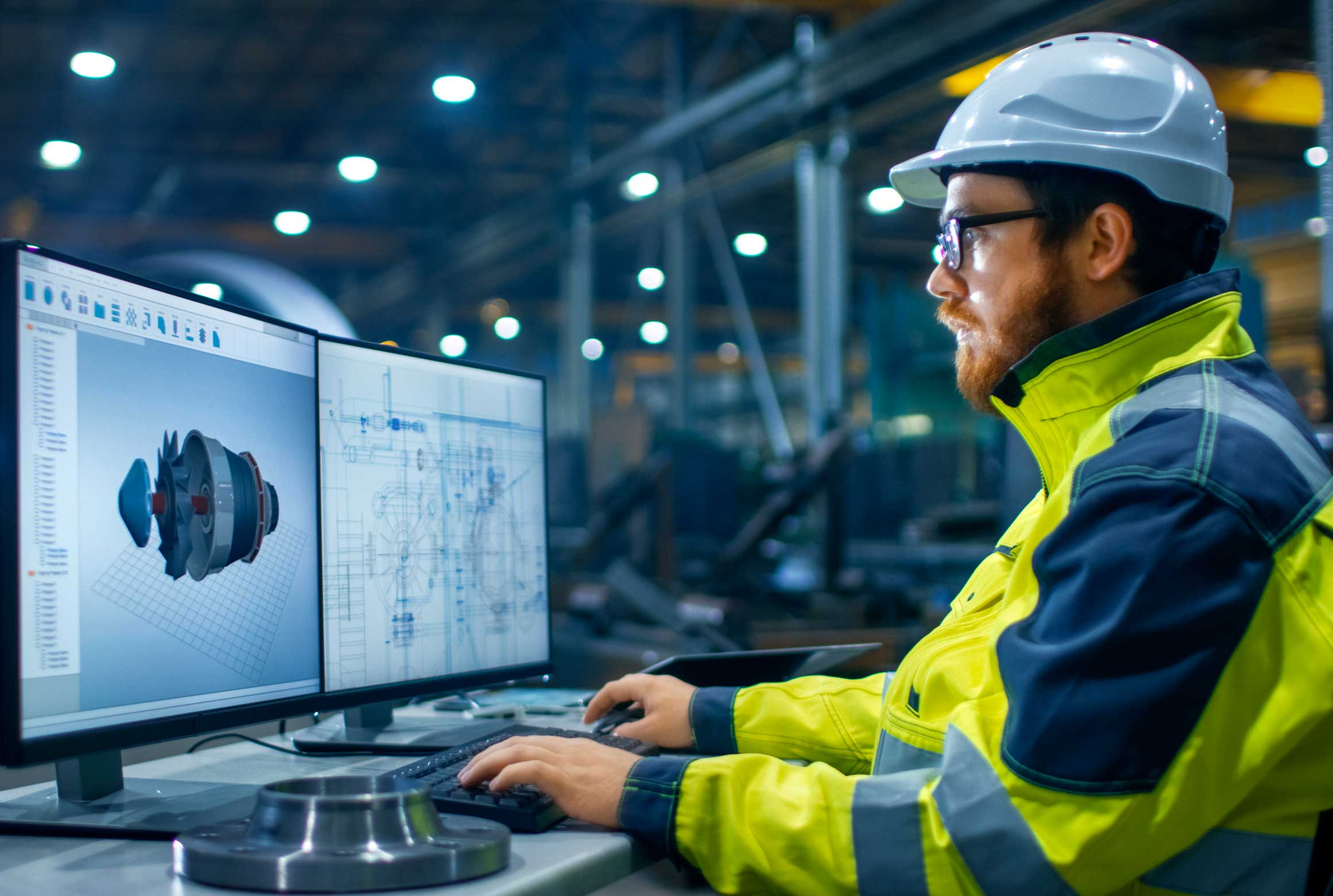engineer using technology equipment in manufacturing