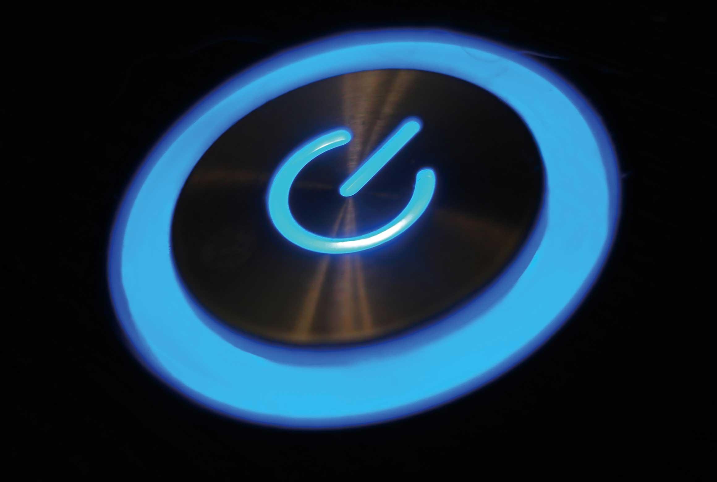 power button illuminated