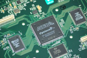 an Altera Cyclone FPGA (Field Programmable Gate Array) component on a circuit board