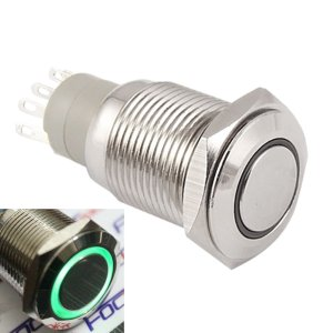 Self-locking Pulsante with Green LED 16mm 12V Metal bottone