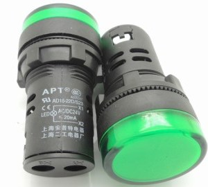 Green 16MM Highlighting the LEDindicator light AD16opening 16 mm - 24 VOLT DC