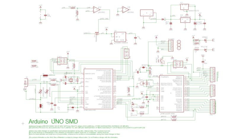 Arduino UNO SMD Edition Schematic - Source: Arduino.cc