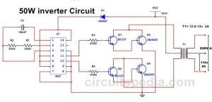 50W 220v Inverter Circuit Diagram Using ic 4047 | 50w