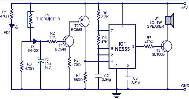 fire alarm circuit using ic 555 and thermistor