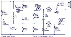 Electronic siren circuit  Electronic Circuits and DiagramsElectronic Projects and Design