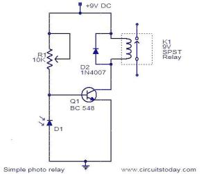 Photo Relay Circuit  Working and Circuit Diagram with