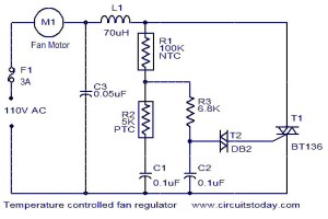Temperature controlled fan regulator  Electronic Circuits and DiagramsElectronic Projects and