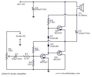 250mW audio amplifier  Electronic Circuits and Diagrams