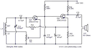 Simple AM radio  Electronic Circuits and Diagrams