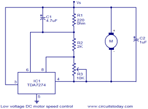 Low voltage DC motor speed control circuit  Electronic