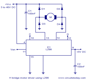 H Bridge Motor Control Circuit Schematic Diagram using IC L298