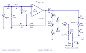 A quality tone control circuit using opamp and few passive ponents