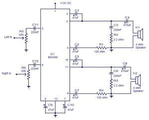 5x2 watt BA5406 stereo amplifier  Operates from 9V DC Low distortion