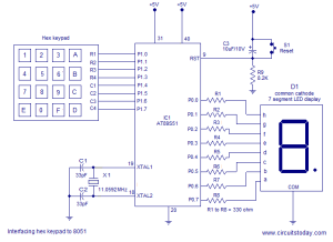 Interfacing hex keypad to 8051 Circuit diagram and assembly program Simple circuit using