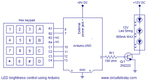 Motor speed control using arduino Hex keypad used as speed input PWM method is used for