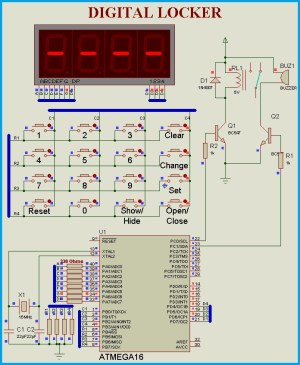 Keypad Door Lock using AVR Microcontroller  Atmega16  Circuit Diagram