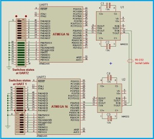 UART Between Microcontrollers Using Proteus  RS232 munication