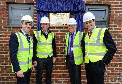 l to r -  John Ibbett, Chairman of Bedfordia Group & Biogen,  Julian O'Neill, Chief Executive of Biogen, Denis Nolan,  Managing Director of Toureen Group (main civils contractor) and Haydn Mursell, Chief Executive of Kier Group
