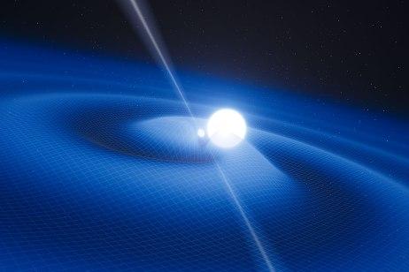 Impresión artística del púlsar PSR J0348+0432 y su compañera enana blanca. Crédito: ESO.
