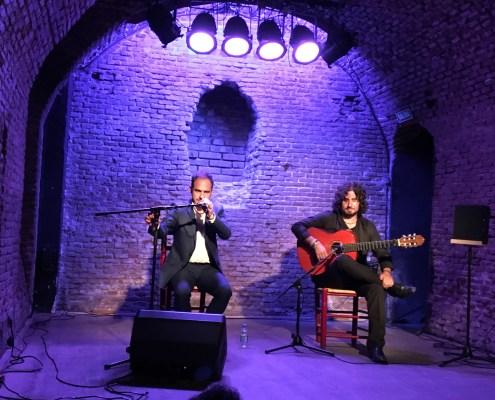 Foto de Paco del Pozo y Paco Vidal en la sala Off-Latina, en colaboración con el Círculo Flamenco de Madrid, el 14/09/2017. Foto tomada por Francisco Velasco