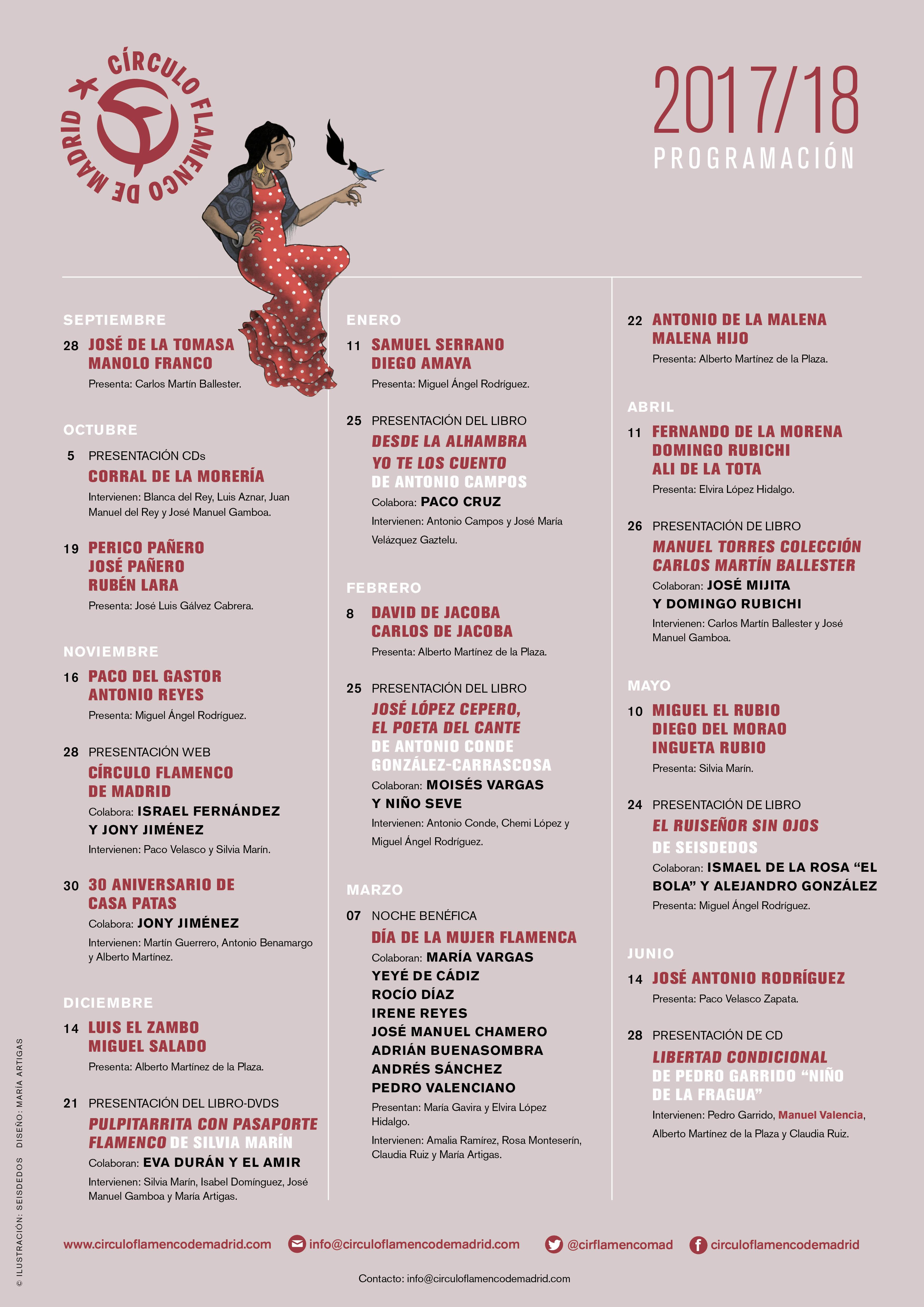 """Imagen describiendo la programación de septiembre de 2017 a junio de 2018 en el Círculo Flamenco de Madrid. Incluye: 28/9/2017, actuación de José de la Tomasa y Manolo Franco, presenta Carlos Martín Ballester; 5/10/2017, presentación CDs """"Corral de la Morería"""", intervienen Blanca del Rey, Luis Aznar, Juan Manuel del Rey y José Manuel Gamboa; 19/10/2017, actuación de Periico Pañero, José Pañero y Rubén Lara, presenta José Luis Gálvez Cabrera; 16/11/2017, actuación de Paco del Gastor y Antonio Reyes, presenta Miguel Ángel Rodriguez; 28/11/2017, presentación Web Círculo Flamenco de Madrid, colabora Israel Fernández y Jony Jiménez, intervienen Paco Velasco y Silvia Marín; 30/11/2017, 30 aniversario de Casa Patas, colabora Jony Jiménez, intervienen Martín Guerrero, Antonio Benamargosa y Alberto Martínez; 14/12/2017, actuación de Luis el Zambo y Miguel Salado; 21/12/2017, presentación del libro-DVD """"Pulpitarrita con Pasaporte Flamenco"""" de Silvia Marín, colaboran Eva Durán y El Amir, intervienen Silvia Marín, Isabel Domínguez, José Manuel Gamboa y María Artigas; 11/1/2018, actuación de Samuel Serrano y Diego Amaya, presenta Miguel Ángel Rodríguez; 25/1/2018, presentación del libro """"Desde la Alhambra yo te los Cuento"""" de Antonio Campos, colabora Paco Cruz, Intervienen Antonio Campos y José María Velázquez Gaztelu; 8/2/2018, actuación de, David de Jacoba y Carlos de Jacoba, presenta Alberto Martínez de la Plaza; 25/2/2018, presentación del libro """"José López Cepero, el Poeta del Cante"""" de Antonio Conde González-Carrascosa, colaboran Moisés Vargas y Niño Seve, intervienen Antonio Conde, Chemi López y Miguel Ángel Rodríguez; 7/3/2018, Noche Benéfica """"Día de la Mujer Flamenca"""", colaboran María Vargas, Yeé de Cádiz, Rocío Díaz, Irene Reyes, José Manuel Chamero, Adrián Buenasombra, Andrés Sánchez y Pedro Valenciano, presentan María Gavira y Elvira López Hidalgo, intervienen Amalia Ramírez, Rosa Monteseirín, Claudia Ruiz y María Artigas; 22/3/2018, actuación de Antonio de la Malena"""
